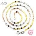 Coloridas cadeias colar 925 prata esterlina jóias para as mulheres de jóias finas 16 polegada e 18 de polegada xd y709f