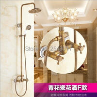 Free Shipping Antique Brass Shower Set Dual Handle Wall Mounted 8 Rainfall Shower with Phone Style Handheld Shower ZR10