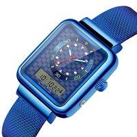 Senors Watch Men Dual Display Watch Men Sport Luxury Watch Male Stainless Steel Band Color Blue Silver Sn146