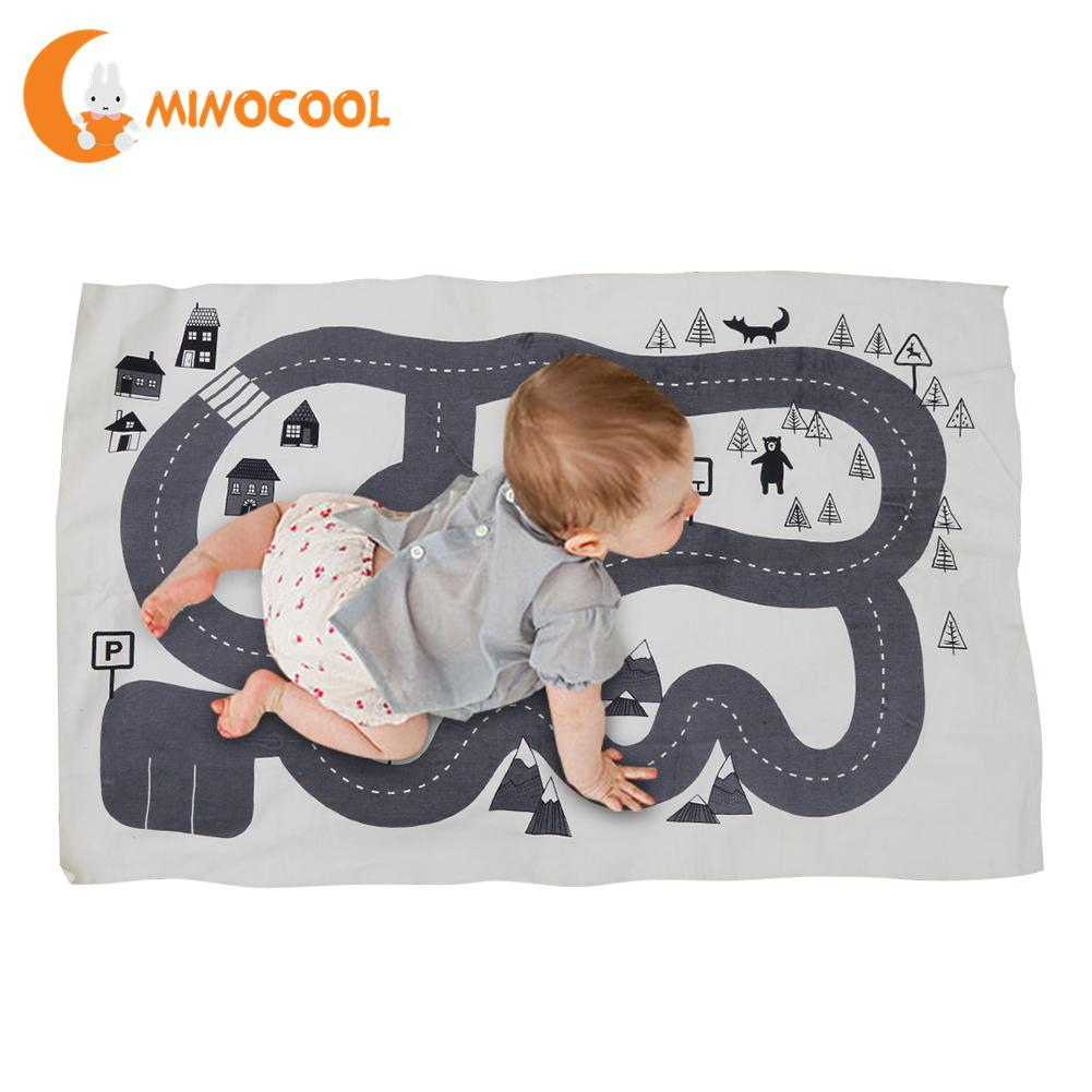 Kids Foldable Black And White Round Rug Nordic Canvas Forest Track Child Game Mat Blanke ...