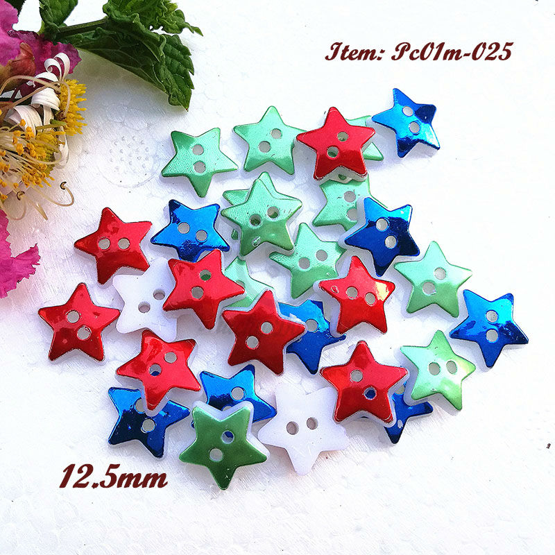 250pcs 12.5mm One color / Mixed color red blue green Christmas Star buttons for sewing Christmas Decorative Buttons wholesale