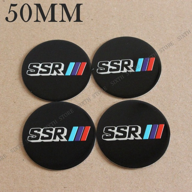 Kom power 50mm ssr wheels center cap stickers ssr logo badge emblems wheel covers hub cap