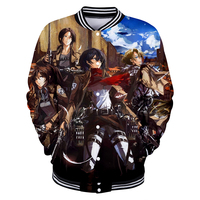 2018 Hot New Anime 3D Printing Attack Giant Baseball Jacket popular Men's and Women's Baseball Jackets Collage Style Clothing