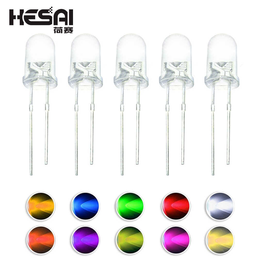 100pcs/lot F5 5MM Round Green/Yellow/Blue/White/Red/Warm White/Orange/Purple/Pink/Yellow Green LED Light Diode Kit
