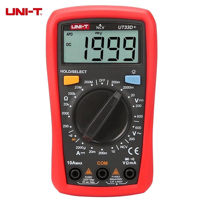 UNI-T UT33D + Manuel Gamme LCD Numérique Multimètre NCV Détecteur Sans contact DC/AC Tension Courant Testeur de Résistance Mètre