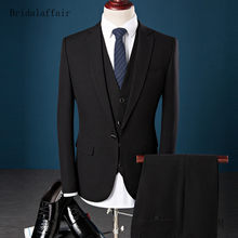 Bridalaffair Men Suit Set Business Blazer (Jacket+Pants+Vest) 3Pcs Purple Blue Black Mens Prom Wedding Suits Formal Groom Tuxedo(China)