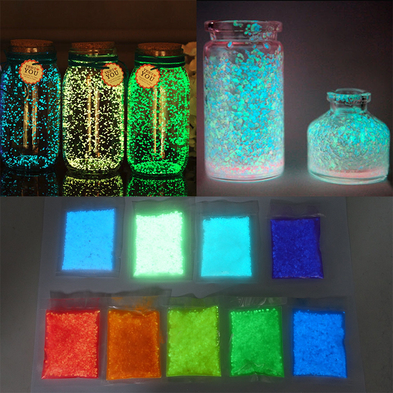 Colorful Luminous Sand Glowing Gravel Party Bright Paint Star Wishing Bottle Fluorescent Particles Noctilucent Sand Toy 10g/1Bag