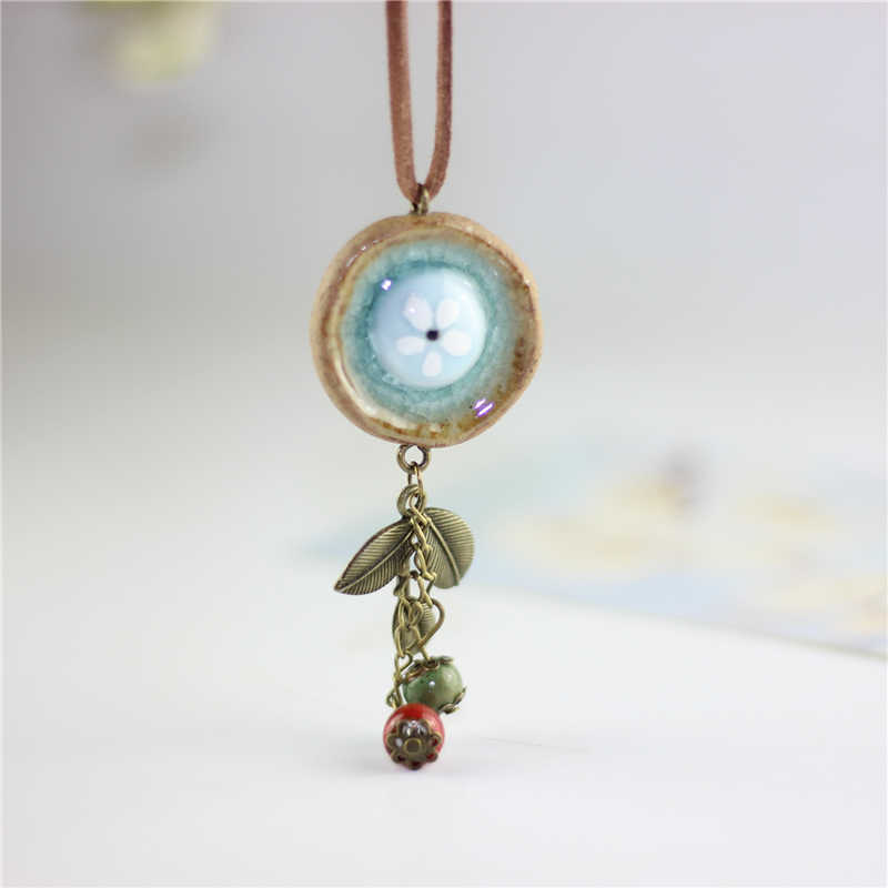 Miredo jewelry wholesale simple ceramic necklaces women's coin wood collar stone boho  necklace pendant free shipping #1757