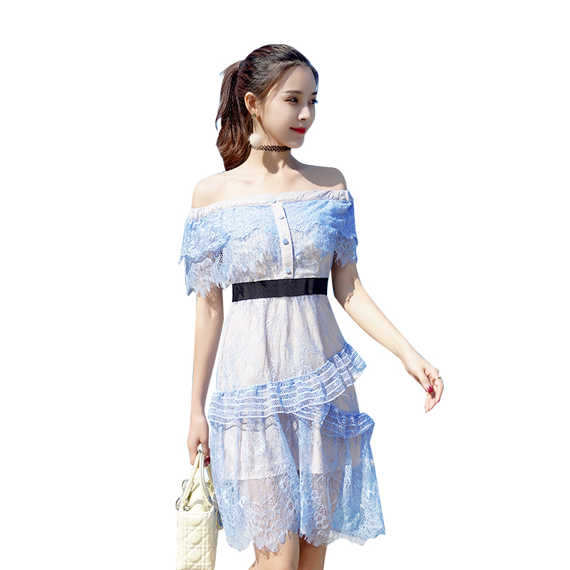 Sexy Slash neck Summer Dress 2018 Lace Ruffles Short Sleeve Off the  Shoulder Sweet women party ba5b6ff40ae2