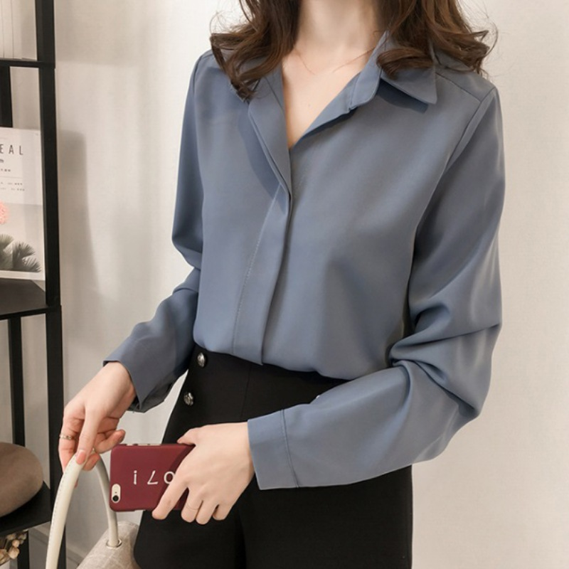 Fashion   Blouse   Tops Womens Female Office Long Sleeve Solid Color   Blouse     Shirt   Casual Elegant Office Ladies Chiffon Ladies   Blouse