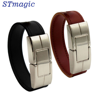 STmagic USB flash drive 64gb Leather metal keyring Pendrive creativo 32gb 16gb 8gb 4gb usb2.0 Wrist band USB-флеш-накопитель