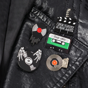 Музыкальная и видео коллекция команды Clapperboard Clap-stick виниловая запись проигрыватель лента проигрыватель запись DJ эмалированная брошь для подарка