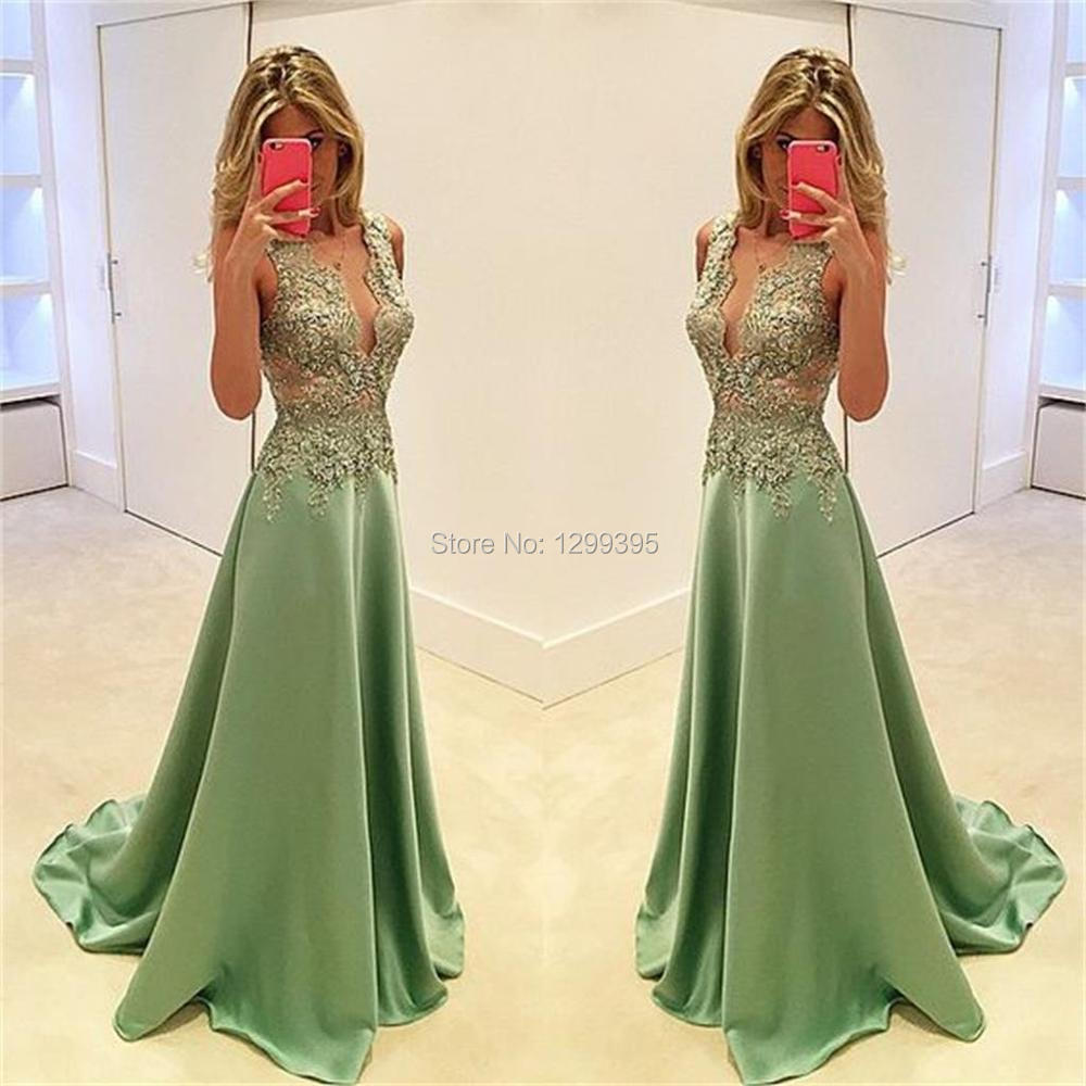 2017 Sage Green Formal Evening Gowns with Appliques Cheap Prom ...