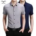 Top 2016 Brand new high-grade short-sleeved shirt men casual summer youth shirt slim Korean students solid business simple men