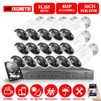 H.265 16CH 4MP 5MP POE NVR CCTV Security System 16PCS IR Outdoor 1080P Audio Record IP Camera P2P Video Surveillance Kit 4TB