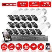 H.265 16CH 4MP 5MP POE NVR sistema de seguridad CCTV 16 piezas IR al aire libre 1080P registro de Audio cámara IP P2P kit de videovigilancia 4TB