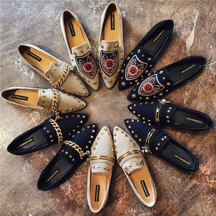 681f1e8c8ca Women Flats Cool Golden Rivet Flat Shoes Women Loafers Ballet Flats Suede  Metal Chain Bees Black