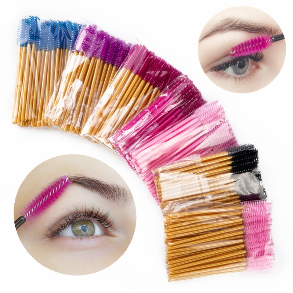 50PCS Eyelash Brushes Eyelash Extension Brushes Disposable Eye Lash Cleaning Mascara Wands Applicator Cosmetic Makeup Tools