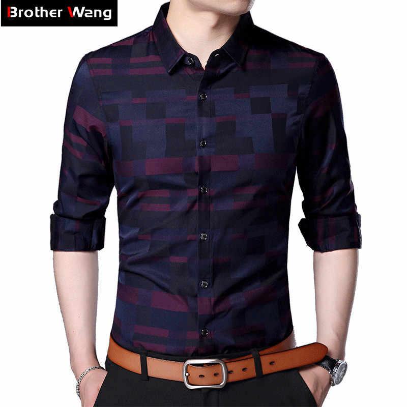 Ropa de marca camisa a cuadros para hombre 2020 primavera nueva moda Casual algodón Slim Fit camisa de manga larga Hombre Rojo rejilla azul