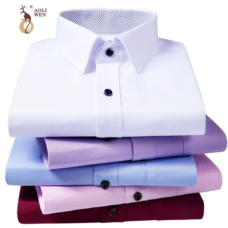 AOLIWEN2018 Brand Men Blouse Shirt  Broadcloth Twill Stribed Shirt Long Sleeve Dress Shirt Fashion Shirt Men Summer FashionM-5XL