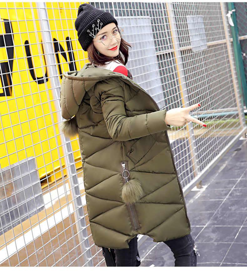 חדש פרווה כדור צבא ירוק אופנה חורף מעיל נשים חם למטה מעיילים ארוך נשי מעיל מעיל גבירותיי למטה כותנה הלבשה עליונה