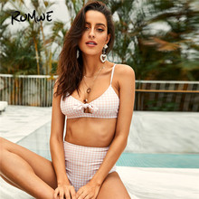 c3f4aba28deda Romwe Sport Bikinis Set Pink Pastel Gingham Knot Tie Front Top With High  Waist Bottoms Two-Pieces Suits Women Summer Swimwear