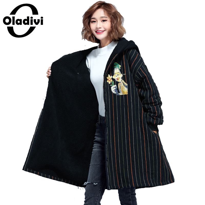 Oladivi Oversize Plus Size Women Clothes Velvet Coat Winter New Fashion Print Jacket Female Overcoat Casual Ladies Outerwear Top