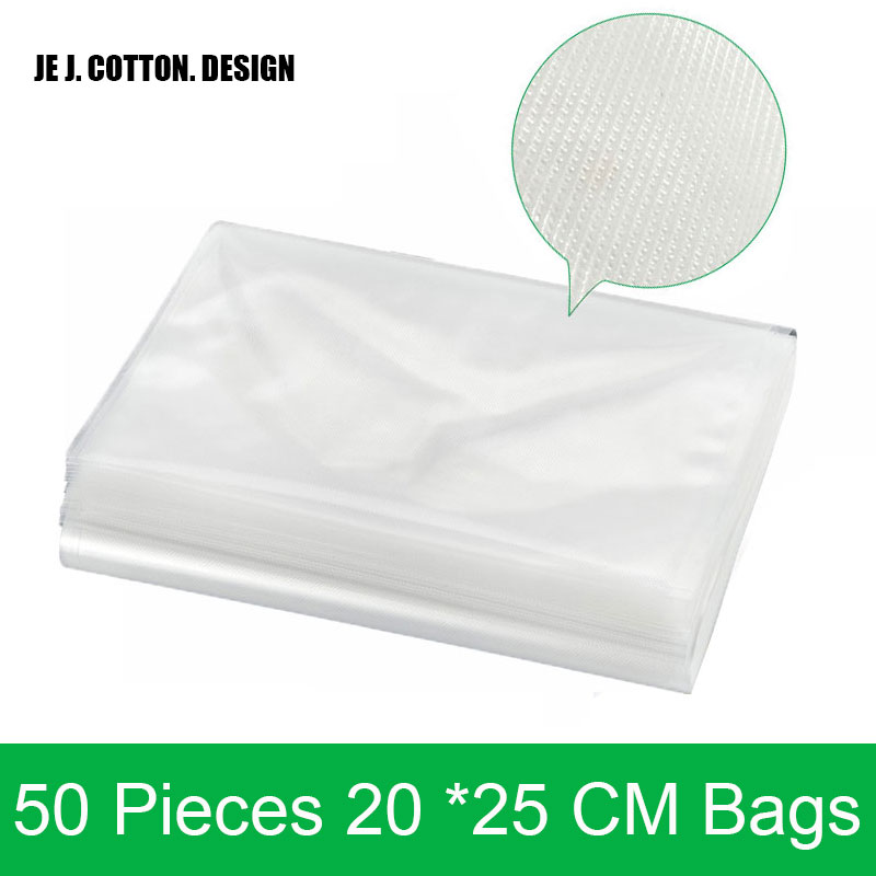 Original 50 pieces/lot 20*25CM Bags for Vacuum Sealer Packing Machine 20x25 CM Vacuum Packer Bag for Food Grain Transparent 100 pieces lot 20 25 cm vacuum packer bags for food 20 25cm vacuum sealer packing machine bag with grooves easy to tear