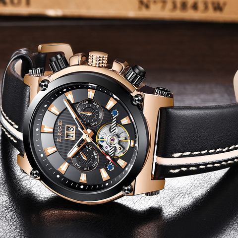 LIGE Fashion Men Watch Top Brand Luxury Automatic Mechanical Watches  Men Casual Leather Waterproof Sport Tourbillon Watches Multan