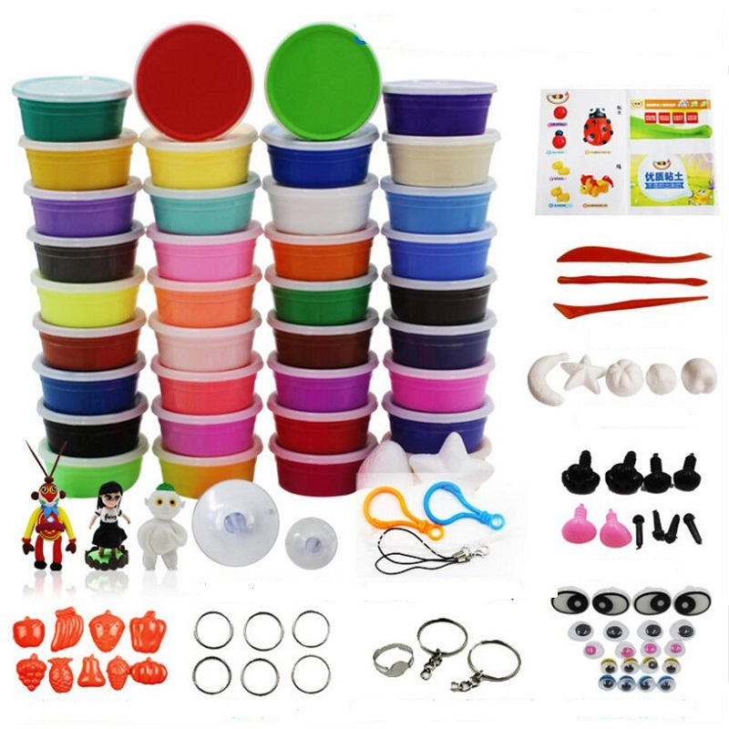 24 Colors / 36 Colors Super Light Modeling Clay Set Air Dry Soft Plasticine Plastilina Play Dough Playdough Polymer Clay DIY Toy blue like play dough