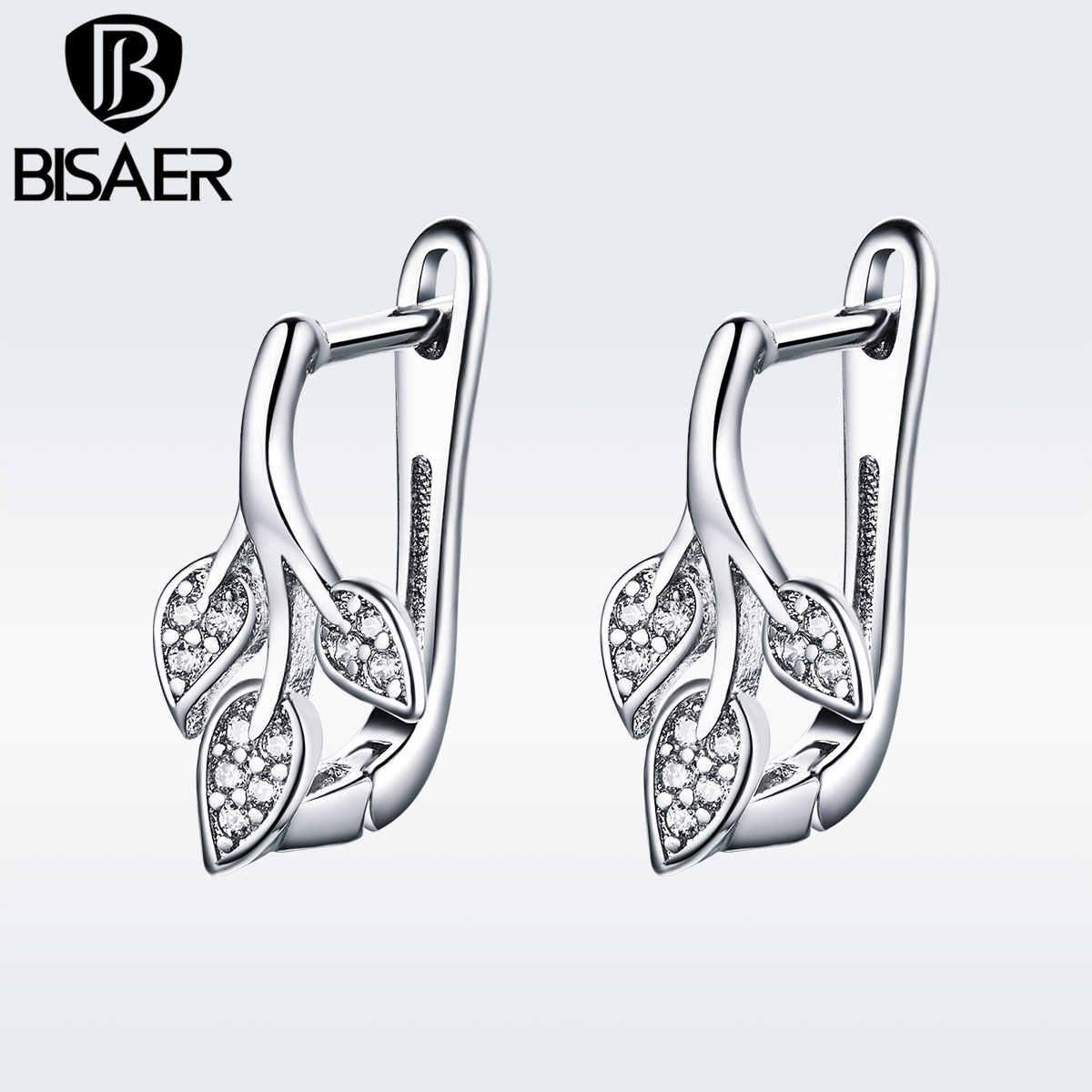BISAER קריסטל חישוק עגילים לנשים תכשיטי חתונה ברור CZ Bijoux Brincos נשי תכשיטים GSE133