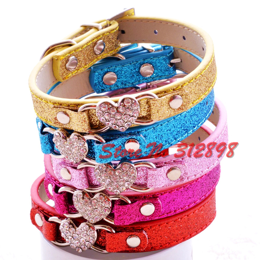 New Hot Sale Luxury Dog Collar Heart Bling PU Shine Heart Fashion Pets Leads Supplies For Puppy Animals Yorkie Chihuahua Cats