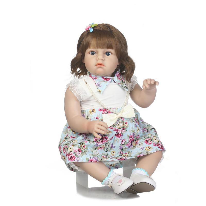 2017 New lifelike reborn toddler doll beautiful skirt girl doll soft silicone vinyl doll for Birthday and Christmas new fashion design reborn toddler doll rooted hair soft silicone vinyl real gentle touch 28inches fashion gift for birthday