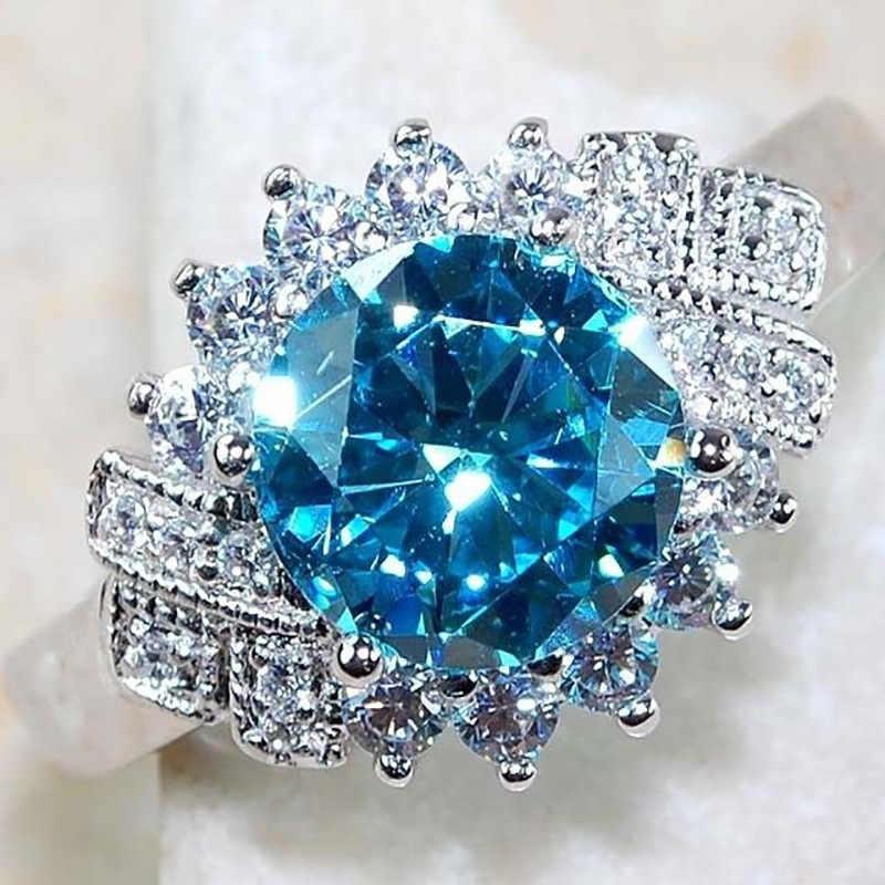 น่ารักหญิงน้ำขนาดใหญ่สีฟ้าแหวนหมั้นแหวนแฟชั่น 925 เงินคริสตัล Zircon แหวนหินแหวนแต่งงาน Vintage