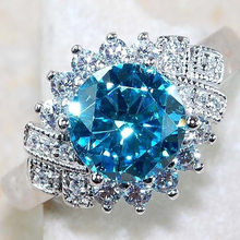 Cute Female Big Water Blue Engagement Ring Fashion 925 Silver Crystal Zircon Stone Ring Vintage Wedding Rings For Women(China)