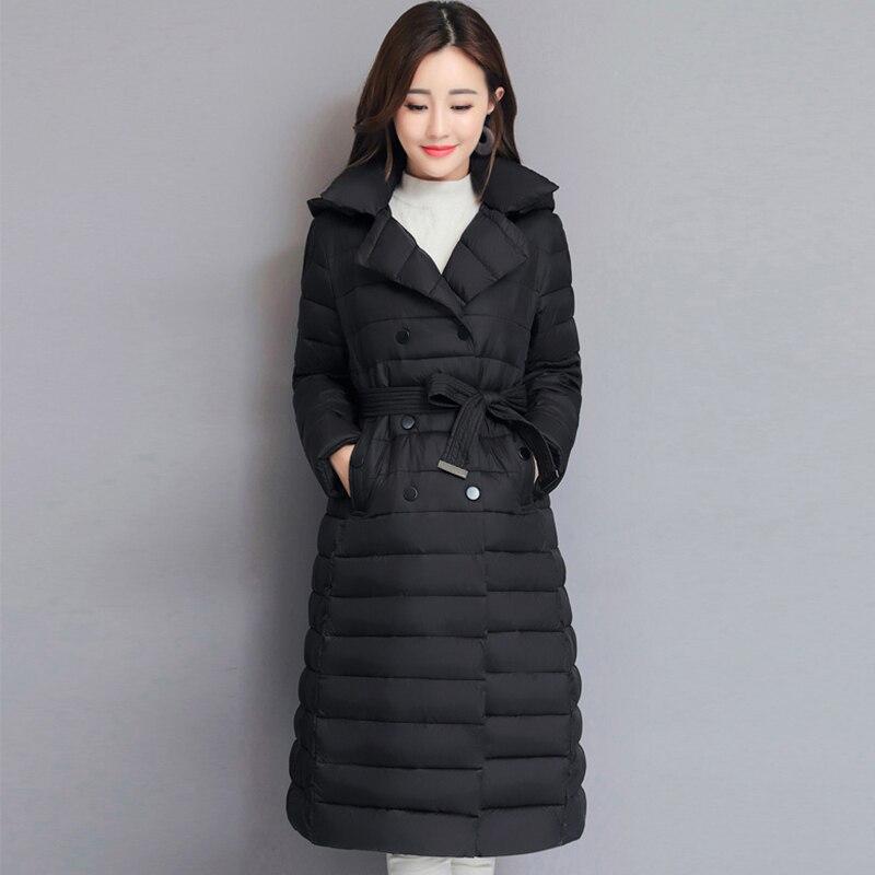 2019 drehen Unten Kragen Winter Jacke Frauen Padded Breasted Tasten Damen Lange Parka Outwear Warme Mantel