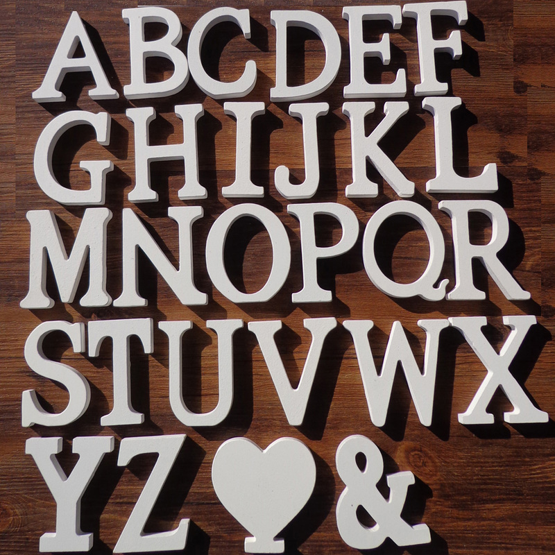 1pc White Wooden English Letters Alphabet English Word Wood Standing Craft Ornaments DIY Personality Wedding Party Decoration