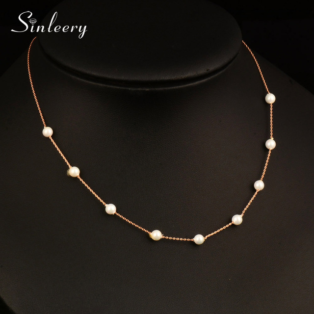 SINLEERY Elegant 9PCS Imitation Pearl Necklaces WhiteRose Gold