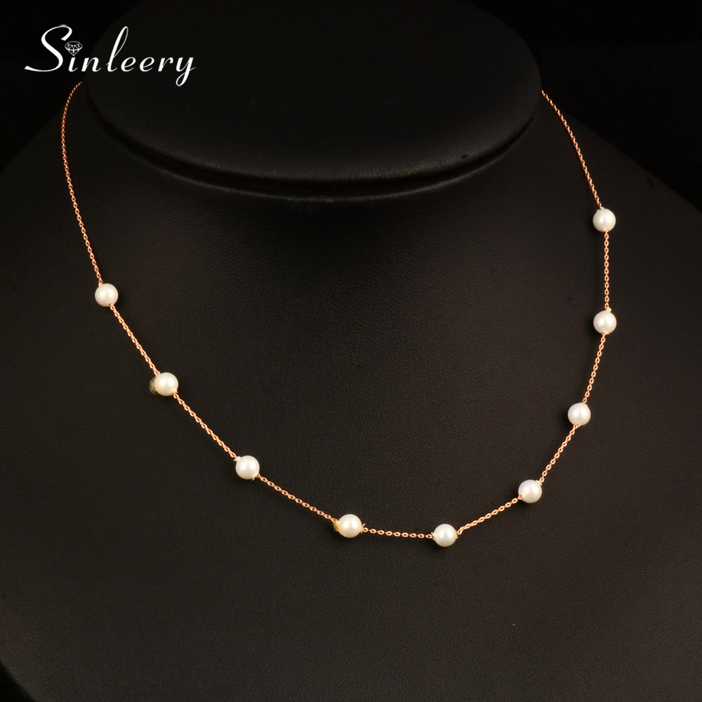 SINLEERY Elegant 9PCS Imitation Pearl Necklaces White/Rose Gold Color Chain Jewelry For Women Girl Wedding Accessories XL105 SSC