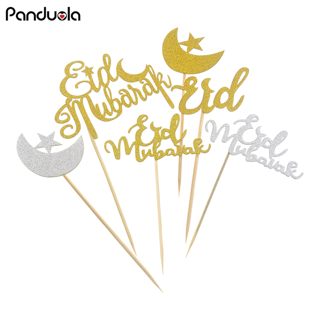 Ramadan Cake Topper Eid Mubarak Gold Glitter Paper Cupcake Topper For Hajj Mubarak Decorations Muslim Eid
