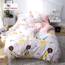 Slowdream Lovely Sunshine Duvet Cover Pink Flat Sheet Double Bed Linen Euro Single Nordic 150 Bedding Set Decor Se