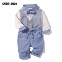 Newborn Boy Clothing Set Cotton Baby Fake Two Pieces Vest Rompers Pant 0 24M Suit Butterfly