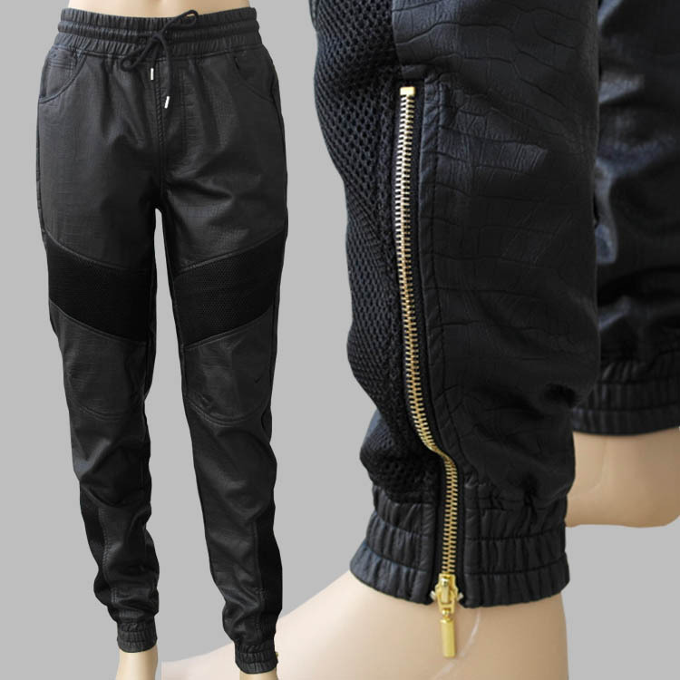 Biker Jackets and Joggers Although you may be more inclined to wear your favourite skinny jeans with your biker jacket, you should try your joggers instead. Mixing the soft and comfortable sportswear pants with a tough, leather jacket provides a contemporary, athleisure look.