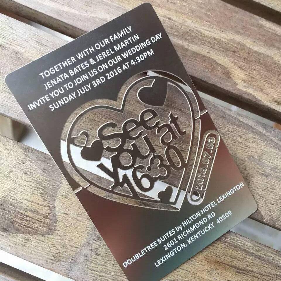 Ofis ve Okul Malzemeleri'ten İş Kartları'de Yüksek kaliteli Oyulmuş metal kartvizit baskı Paslanmaz çelik Düğün Davetiyesi mat bitirme isim kartı'da  Grup 1