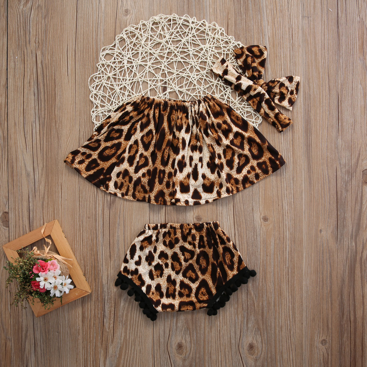 3Pcs Set Newborn Infant Baby Girl Clothes Off Shoulder Sleeveless Leopard Tops+Short Pants+Headband Baby Clothes Outfits 3pcs set newborn infant baby boy girl clothes 2017 summer short sleeve leopard floral romper bodysuit headband shoes outfits