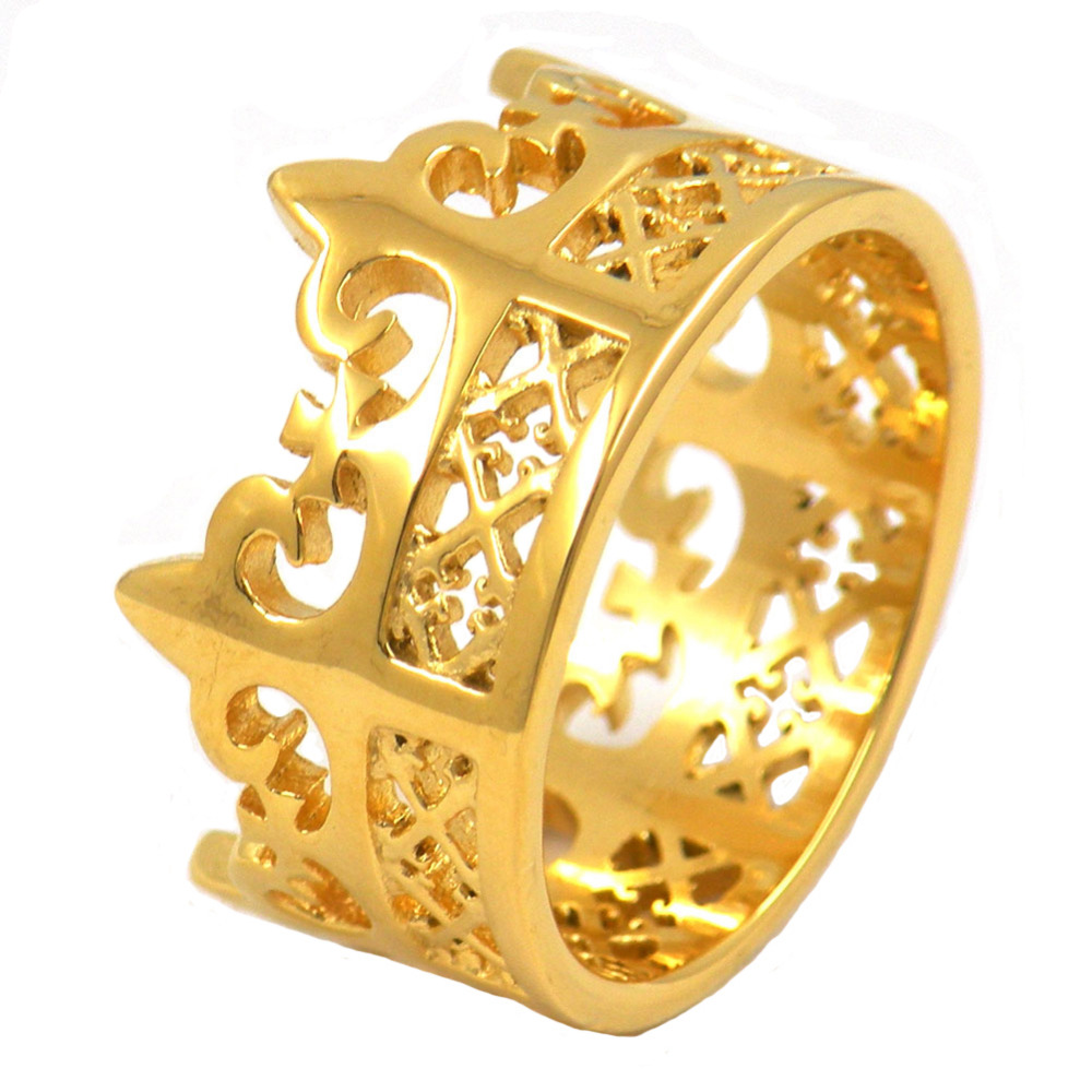 stainless steel jewelry gold plating queen or king crown ring-in