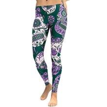 Women Slim Yoga Pants Floral Head Diamond Print Sport Legging High Waist Workout Running Skinny Slim Fitness Female Trousers active women s high waist skull print skinny yoga pants
