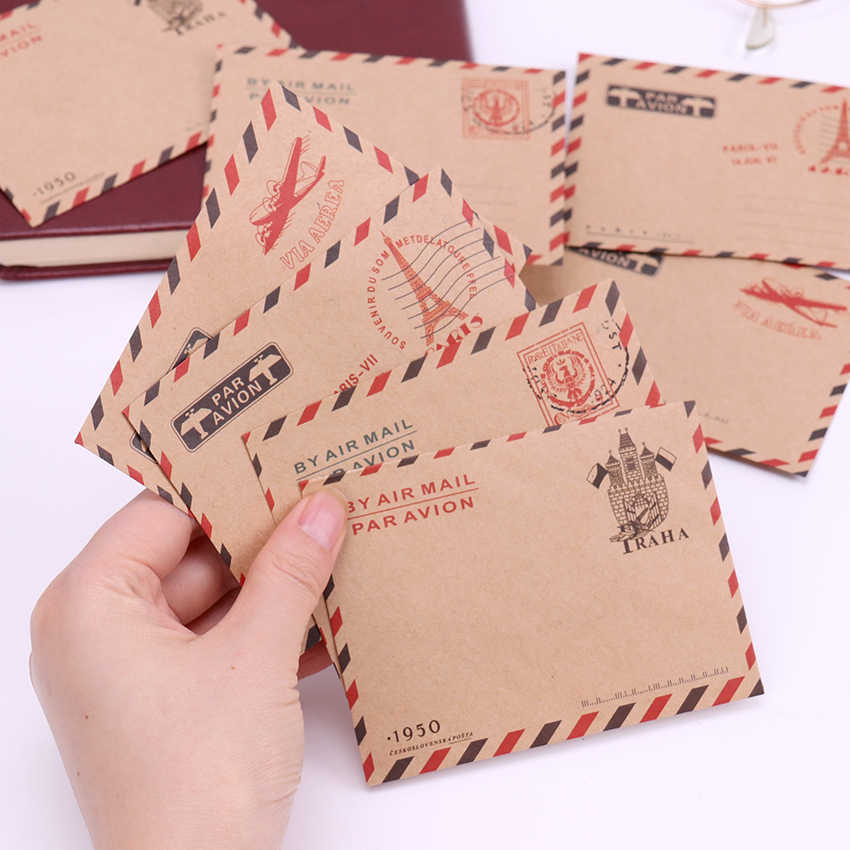 10 PCS Vintage Kraft Paper Envelopes Cute Cartoon Mini Paper Envelopes Kawaii Paper Korean Stationery Gift