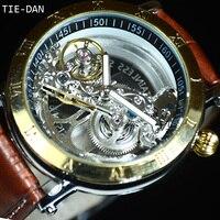 Złoty Tourbillon Automatyczne Zegarek Mechaniczny Mężczyźni Przezroczysty Szkielet Zegarek Zegarek Mody Męskiej Sport Biznes Prezent Z Pudełka