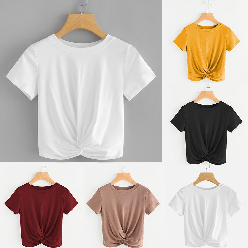 Womail Women Casual Solid O Neck Short Sleeve Twist Front Crop Tee Summer Basic T -Shirt Drop Shipping Black Khaki 12.JUNE.21